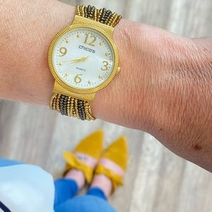 Chico's Mother of Pearl Gunmetal Two tone Watch